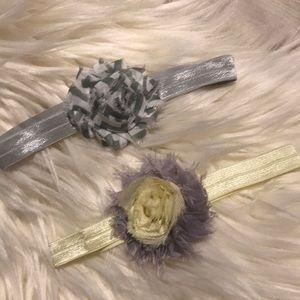 Infant shabby chic flower stretch headband (2)